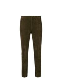 braune enge Hose aus Leder von Vince