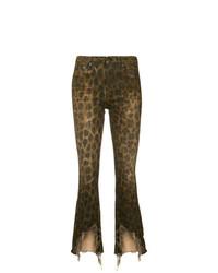 braune enge Hose mit Leopardenmuster von R13