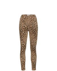 braune enge Jeans mit Leopardenmuster von Frame Denim