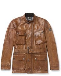 braune Feldjacke aus Leder von Belstaff