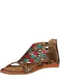 braune flache Sandalen aus Leder von Laura Vita