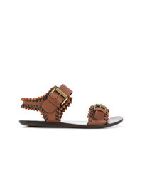 braune flache Sandalen aus Leder von See by Chloe