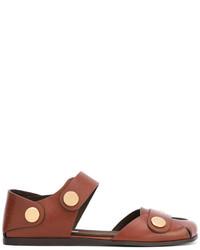 braune flache Sandalen aus Leder von Stella McCartney