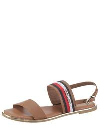 braune flache Sandalen aus Leder von Tommy Hilfiger