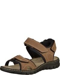 braune flache Sandalen aus Segeltuch von Josef Seibel