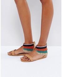 braune flache Sandalen von Aldo