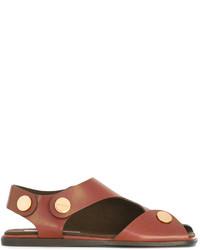 braune flache Sandalen von Stella McCartney