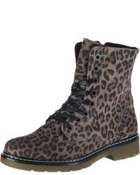 braune flache Stiefel mit einer Schnürung aus Wildleder mit Leopardenmuster von Bullboxer