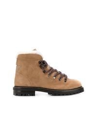 braune flache Stiefel mit einer Schnürung aus Wildleder von Valentino
