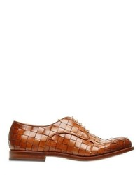 braune geflochtene Leder Derby Schuhe