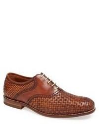 braune geflochtene Leder Oxford Schuhe
