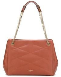 braune gesteppte Shopper Tasche aus Leder von Lanvin