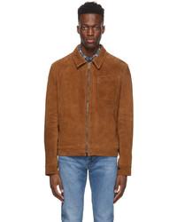 braune Harrington-Jacke aus Wildleder