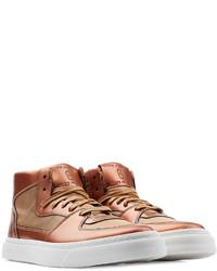 braune hohe Sneakers aus Leder