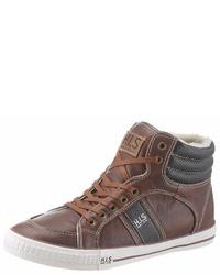 braune hohe Sneakers aus Leder von HIS JEANS