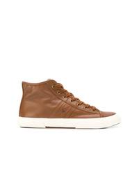 braune hohe Sneakers aus Leder von Ralph Lauren
