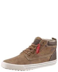 braune hohe Sneakers aus Leder von S.OLIVER RED LABEL