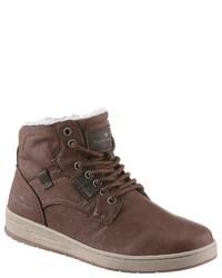 braune hohe Sneakers aus Leder von Tom Tailor