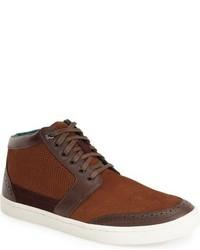 braune Hohe Sneakers aus Wildleder