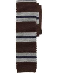 braune horizontal gestreifte Krawatte