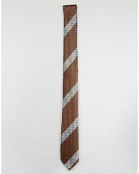 braune horizontal gestreifte Krawatte von Asos