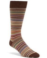 braune horizontal gestreifte Socke
