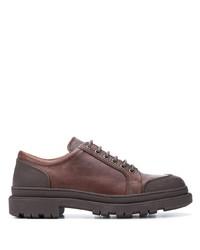braune klobige Leder Derby Schuhe von Brunello Cucinelli
