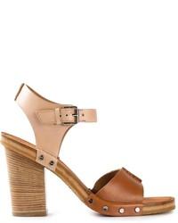 braune klobige Leder Sandaletten