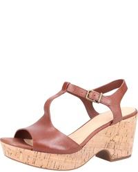 braune klobige Leder Sandaletten von Clarks