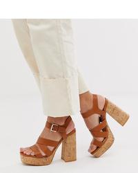 braune klobige Leder Sandaletten von Stradivarius