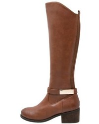 braune kniehohe Stiefel aus Leder von Anna Field