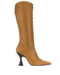braune kniehohe Stiefel aus Leder von Dorateymur