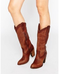 Braune Kniehohe Stiefel aus Leder von Frye