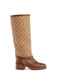 braune kniehohe Stiefel aus Leder von Gucci