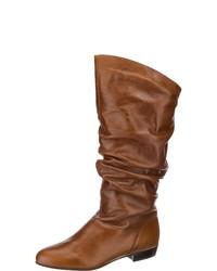 braune kniehohe Stiefel aus Leder von KMB