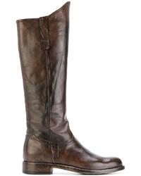 braune kniehohe Stiefel aus Leder von Officine Creative