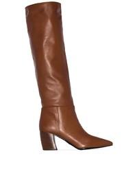braune kniehohe Stiefel aus Leder von Prada