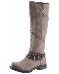 braune kniehohe Stiefel aus Leder von Tom Tailor