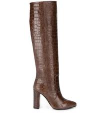 braune kniehohe Stiefel aus Leder von Via Roma 15