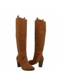braune kniehohe Stiefel aus Wildleder