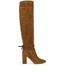 braune kniehohe Stiefel aus Wildleder von Aquazzura
