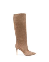 braune kniehohe Stiefel aus Wildleder von Gianvito Rossi