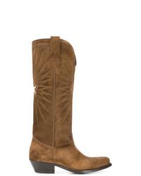 braune kniehohe Stiefel aus Wildleder von Golden Goose Deluxe Brand