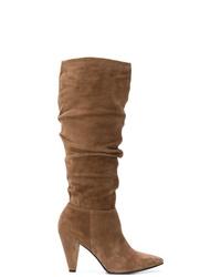 braune kniehohe Stiefel aus Wildleder von Kennel + Schmenger