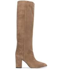 braune kniehohe Stiefel aus Wildleder von Paris Texas