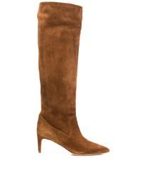 braune kniehohe Stiefel aus Wildleder von RED Valentino