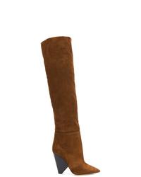braune kniehohe Stiefel aus Wildleder von Saint Laurent