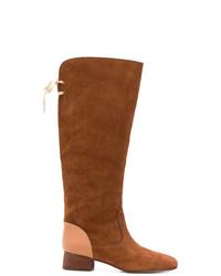 braune kniehohe Stiefel aus Wildleder von See by Chloe