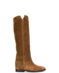 braune kniehohe Stiefel aus Wildleder von Via Roma 15