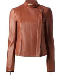 braune Leder Bikerjacke von The Row